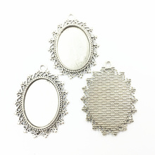 10Pcs Silver Tone Necklace Pendant Setting Cameo Base Tray Bezel Blank Oval S Flower Lace Fit 25x18mm Cabochon Jewelry 39mm 20pcs 12mm heart inner size stainless steel material simple style cabochon base cameo setting charms pendant tray t7 41