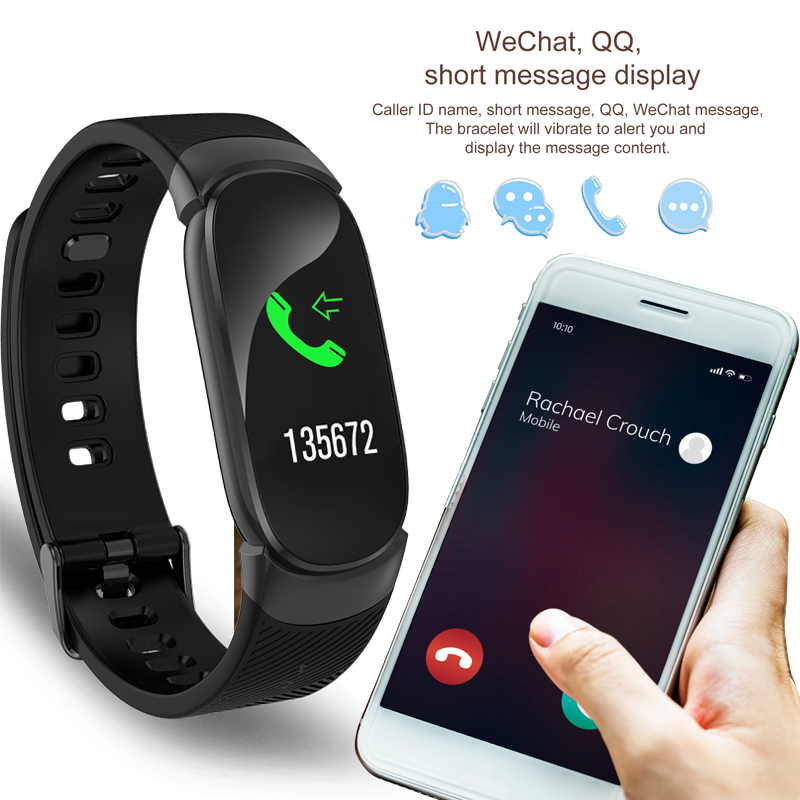 LIGE Smart Bracelet IP67 Waterproof Activity Fitness tracker Heart rate Monitor Men Women Spors Smart Watch For IOS Android box in Smart Wristbands from Consumer Electronics
