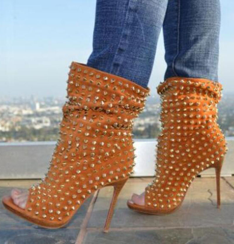 Classical Women Fish toe Full Rivets Studs Ankle Boots Ladies Metal Spikes Slip on Spring Sexy Low Platform Short Boots