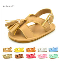 E Bainel Summer Baby First Walkers Soft Bottom Fringe Candy Color Shoes Girls Baby Toddler Slippers