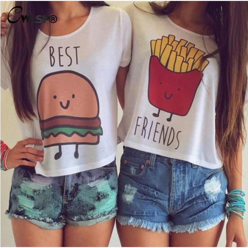 CWLSP Casual Crop Tops Women 2018 Summer Round Neck Best Friends Print T Shirts Fashion Short Sleeve Printed Shirt Female QL820