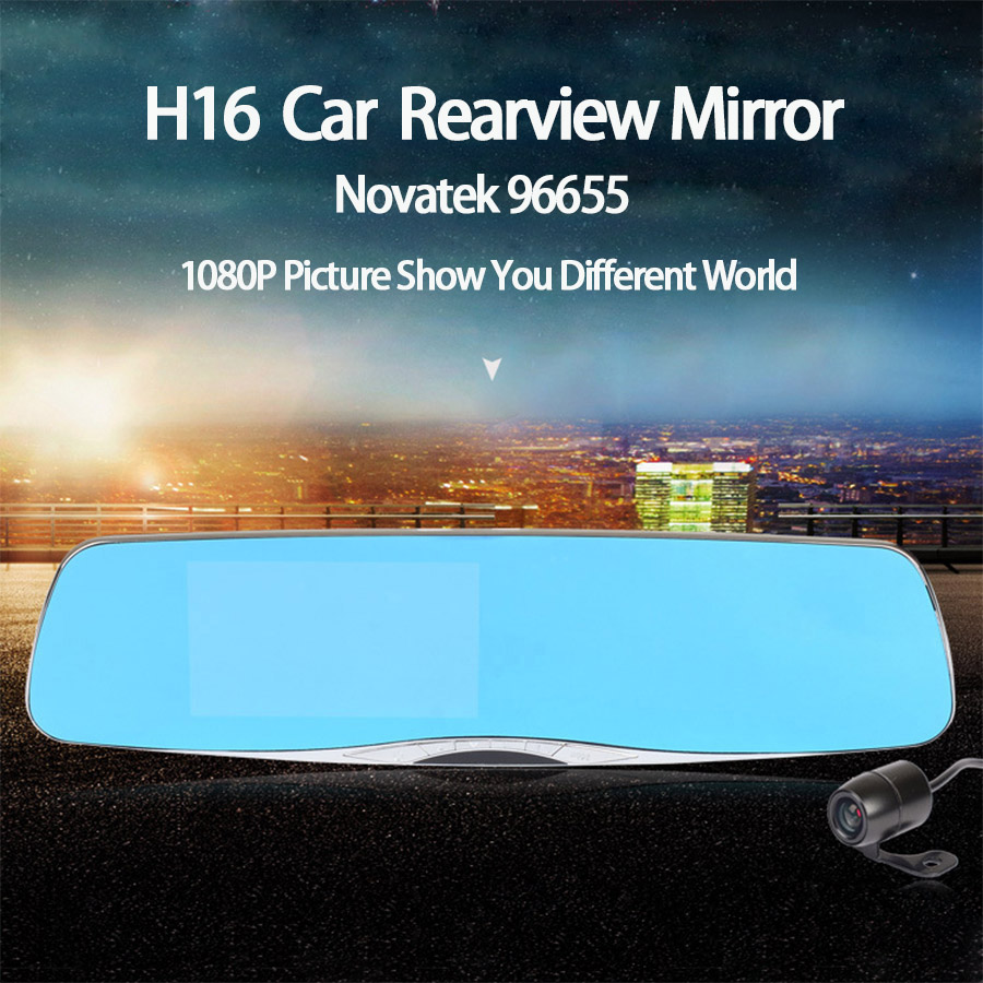 SKydot Rearview Mirror Novatek 96655 Car Dvr Dual Lens Dash Cam Full HD 1080P Video Registrator Recorder 4.5 Rear View Camera junsun wifi car dvr camera video recorder registrator novatek 96655 imx 322 full hd 1080p dash cam for volkswagen golf 7 2015