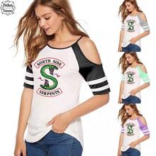 Frdun Tommy Riverdale 2019 Dew Shoulder Small Sexy T-shirt Fashion Casual T-shirt Exclusive Printing T Shirt Women S-5XL(China)