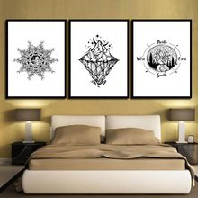Wall Canvas Paintings HD Prints Quote Abstract Black Gray Mountain Simple Nordic Posters Photo Pop Artwork Decoration Picture(China)