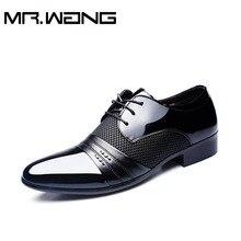 Дешевая Рабочая Офисные туфли мужские лакированные туфли бизнес свадебные туфли зашнуровать Острым Носом квартиры большой размер 37-47 AB-01