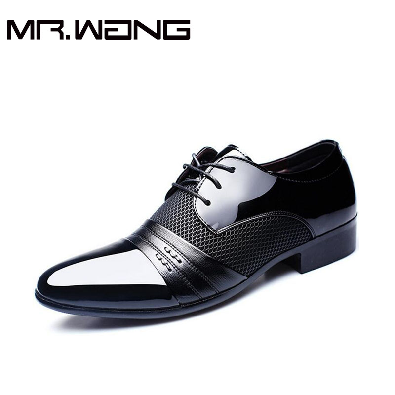 Cheapest Working Office shoes mens patent leather shoes business wedding shoes lace up Pointed toe font