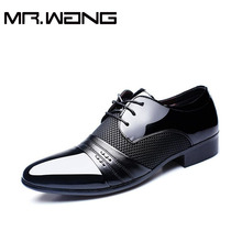 Cheapest Working Office shoes mens patent leather shoes business wedding shoes lace up Pointed toe flats big size 37-47 AB-01