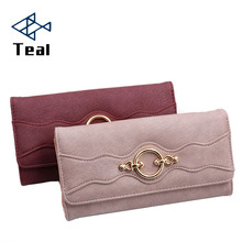 New Buckle Women's wallet long Korean Style three fold fashion women's clutch bag large capacity wallet three fold wallet long section of new leather embossed clutch bag purse ms bb055