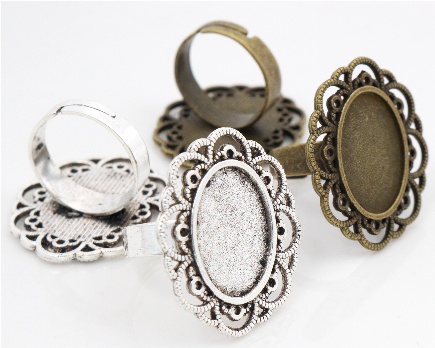 13x18mm 5pcs Antique Silver And Bronze Plated Brass Oval Adjustable Ring Settings Blank/Base,Fit 13x18mm Glass Cabochons