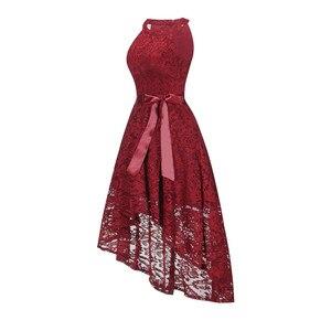 Image 3 - OML 526J # フロントショートロングバックワインレッドホルターボウウエディングドレス結婚式パーティードレスウエディングドレス卸売ファッション服