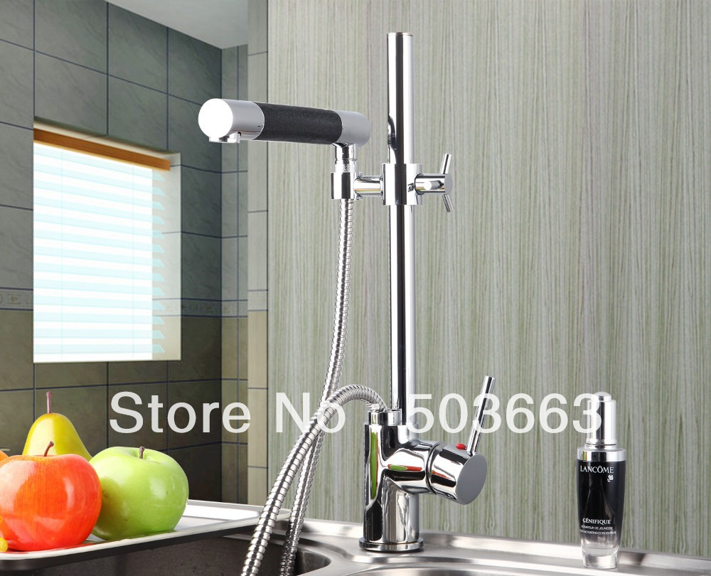 New Chrome Brass Water Kitchen Faucet Swivel Spout Pull Out Vessel Sink Single Handle Deck Mounted Mixer Tap MF-301 new led pull out kitchen vessel sink faucet tap mixer
