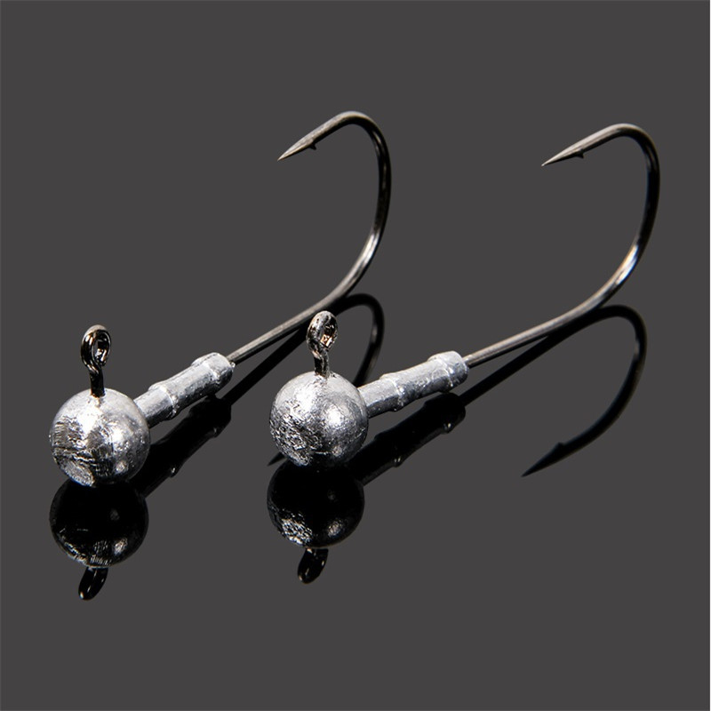 Hot sale jig hook wight 7g high quality lead jig head fishing hook soft  lure worm hook 12 pcs/lot sea fishing Ocean fishing-in Fishhooks from  Sports &