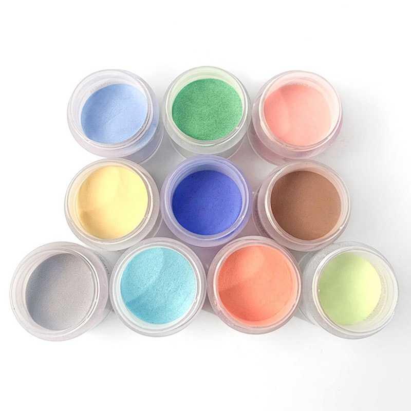 12 صناديق في 1 مجموعة مزيج مسحوق صباغة النحت مسحوق 12 ألوان الاكريليك مسمار غمس مسحوق في 1 10 جرام وعاء واضح الوردي