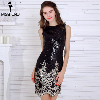 Sexy irregular neck sleeveless sequin black color dress