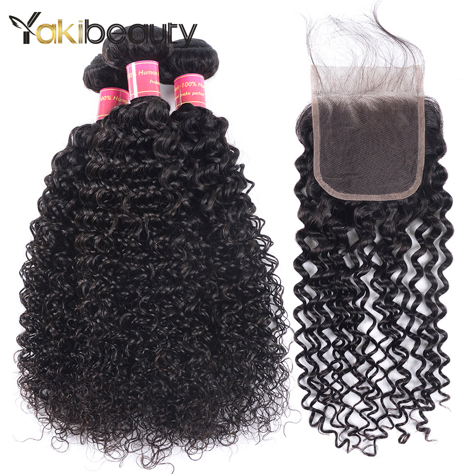 Raw Indian Hair Bundles With Closure Free Part 8-28Kinky Curly Bundles With Closure Bleached Knots Yakibeauty Hair Freeship
