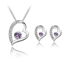 Fashion Austrian Crystal Heart Necklace earrings Set Forever