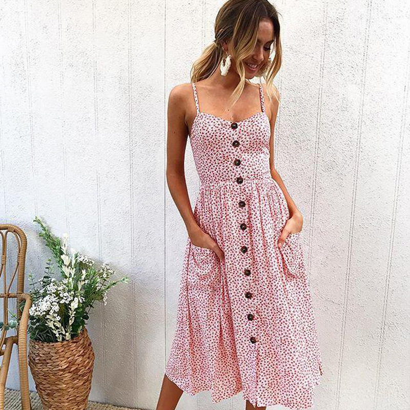 Women summer dress 2019 new button halter sexy mid calf dresses Sunflower pineapple pattern print sling in Dresses from Women 39 s Clothing