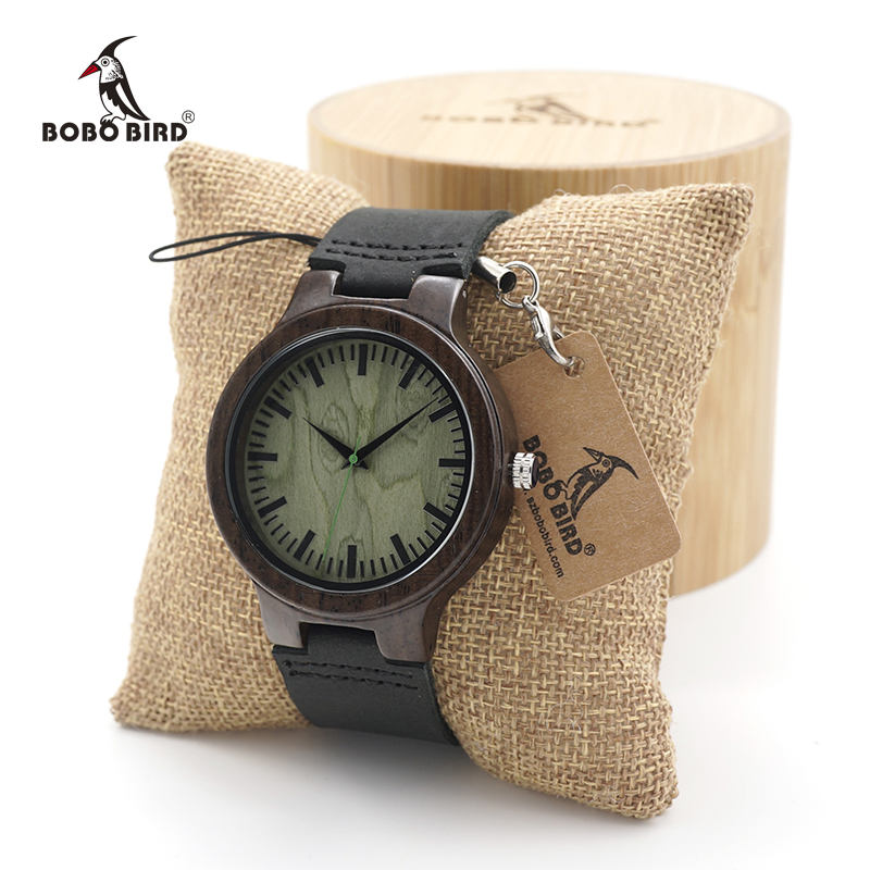 BOBO BIRD Men's Ebony Wood Design Watches Green Dial Timepiece Genuine Leather Quartz Watch for Men Wrist Watch bobo bird men s ebony wood design watches with real leather quartz watch for men brand luxury wooden bamboo wrist watch
