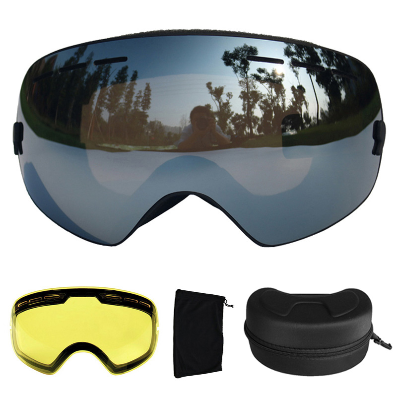 Ski Goggles Anti-fog UV400 Spherical Ski Glasses Ski Snowboard Goggles Double Lens Ski Eyewear With Extra Lens and Box topeak outdoor sports cycling photochromic sun glasses bicycle sunglasses mtb nxt lenses glasses eyewear goggles 3 colors