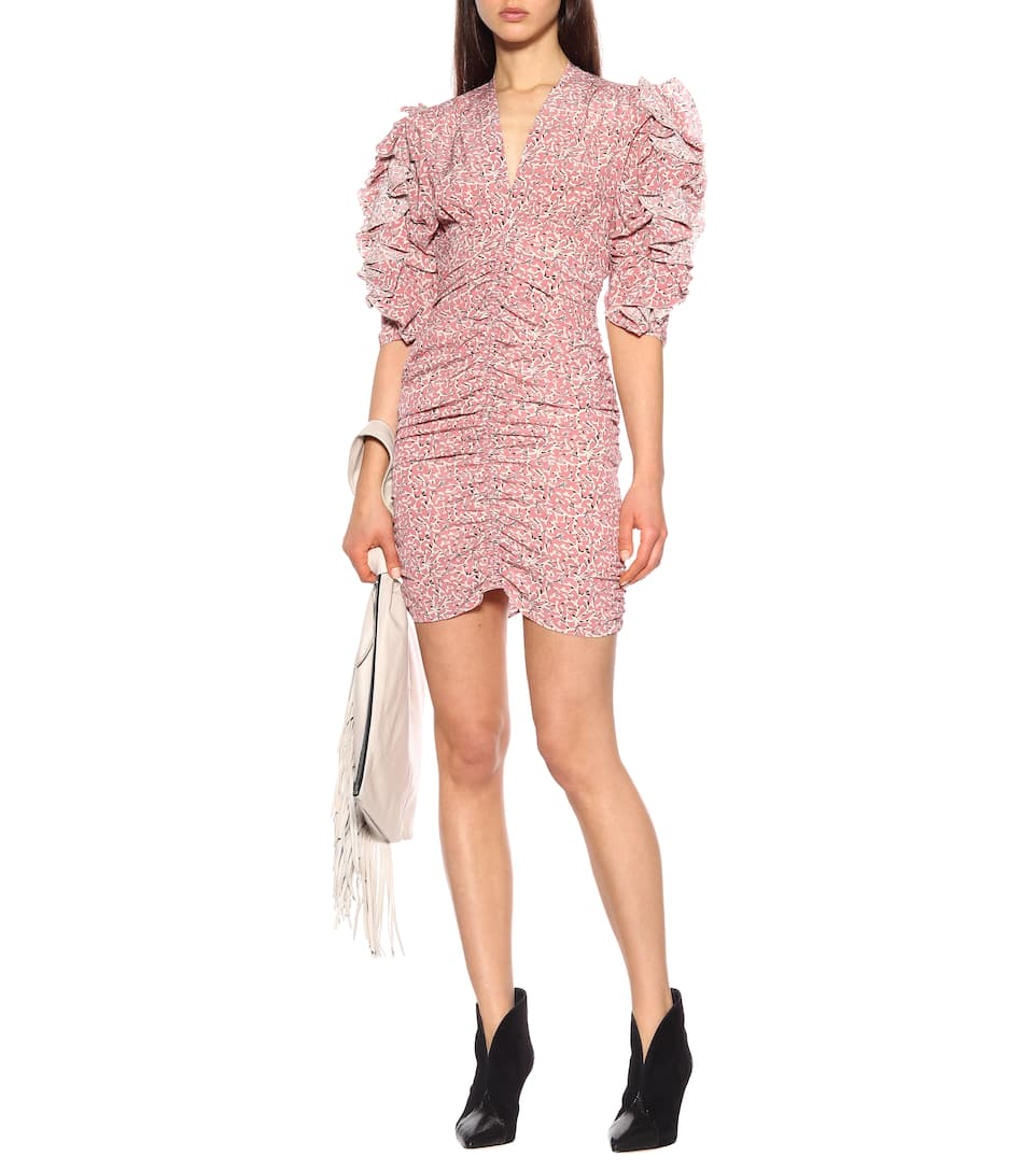 Pink PRINT Silk MINI dress V neck front Creased Gathered half sleeved with ruffled
