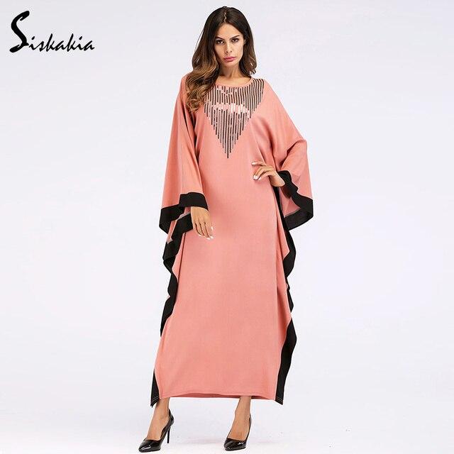 e1d7000fc4f Siskakia Bat long Sleeve black edged patchwork Dressing gowns for women  plus size Muslim Ramadan clothing loose abaya UAE Dubai