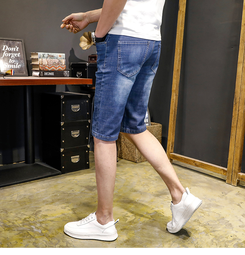 KSTUN Jeans Men Slim Fit Denim Shorts Solid Blue Stretchy Man Jeans Brand 2018 Business Casual Short Jean Pants Cowboys Hombre 14