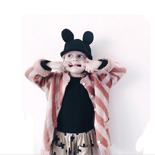 Rayada lingge niñas suéteres de algodón de punto de manga larga o cuello de orange girls cardigan moda casual lindo vestir de los niños