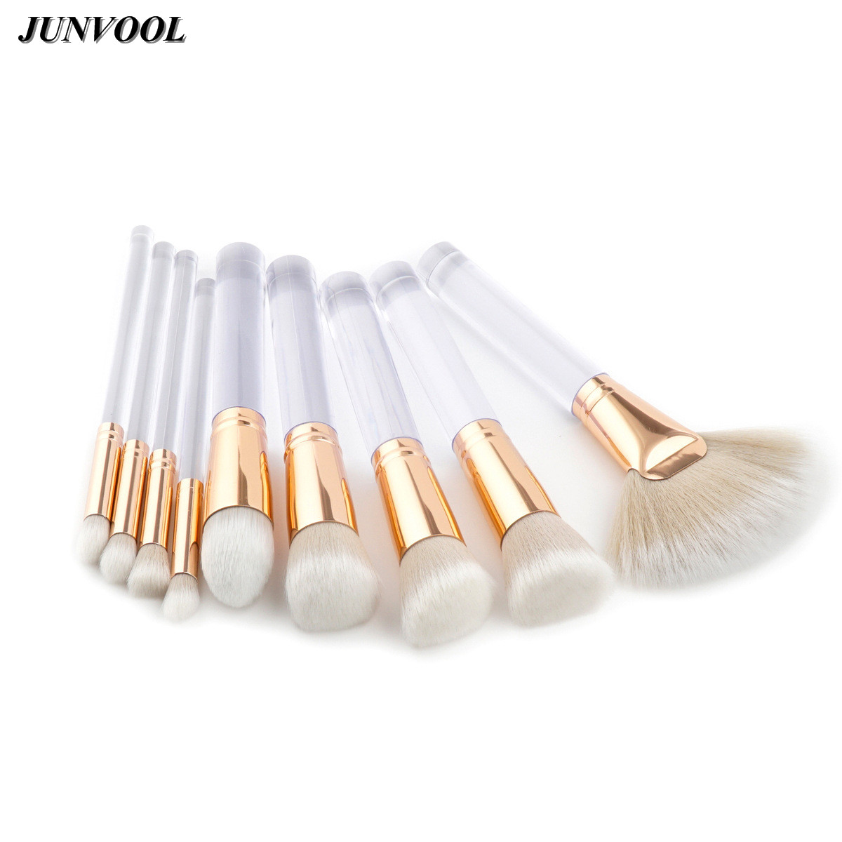 Transparent Handle 9Pcs/set Makeup Brushes Tool Kit Power Foundation Blush Eye Shadow Blending Fan Cosmetic Beauty Make Up Brush g073 professional makeup brush goat hair ebony handle make up eye shadow smudge brushes cosmetic tool eye shadow blending brush