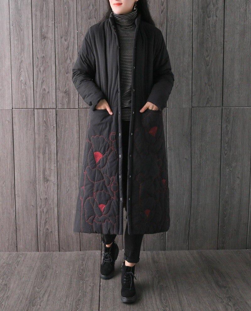 D'hiver Manteau Conception ivoire Vêtements Pardessus Outwear Longue 2018 Vintage Floral New Femelle rouge Coton Noir Épais Avec Jacquard Chauds Rembourré 5Cq4wqxX