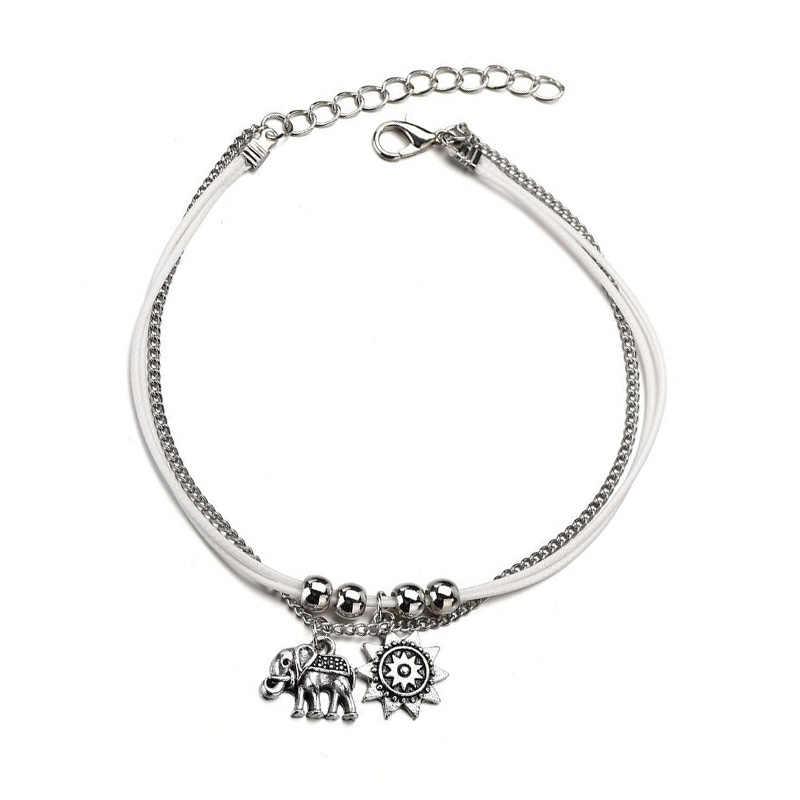 ใหม่ Vintage Star ช้าง Anklets สร้อยข้อมือ Boho จี้ข้อเท้าสองชั้น Bohemian เครื่องประดับของขวัญ Drop shipping