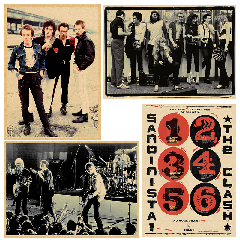 Vintage Posters The Clash Rock Bank Music Poster Music Guitar Matte Kraft Paper Poster Wall Sticker Home Decora