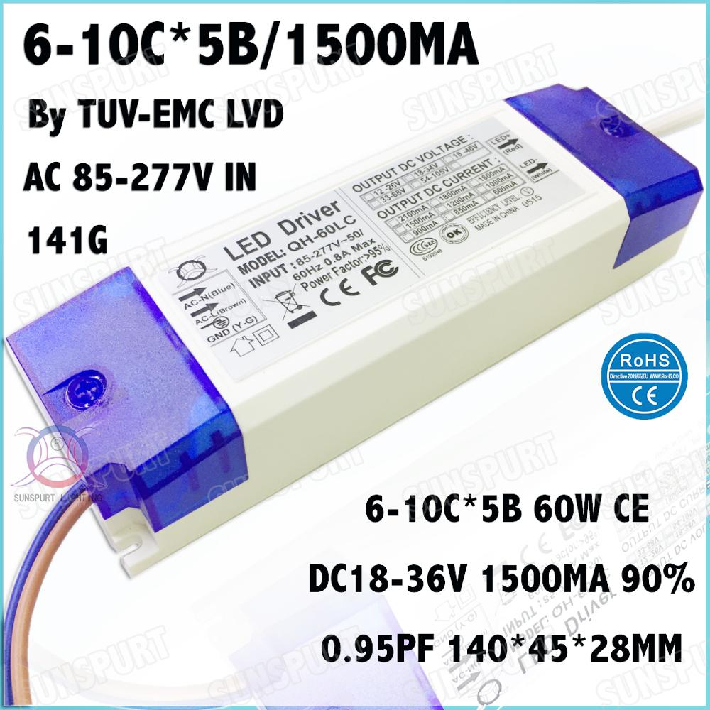 2 Pcs By TUV-CE 60W AC85-277V LED Driver 6-10Cx5B 1500mA DC18-36V EMC LVD Constant Current LEDPower For Spotlights Free Shipping
