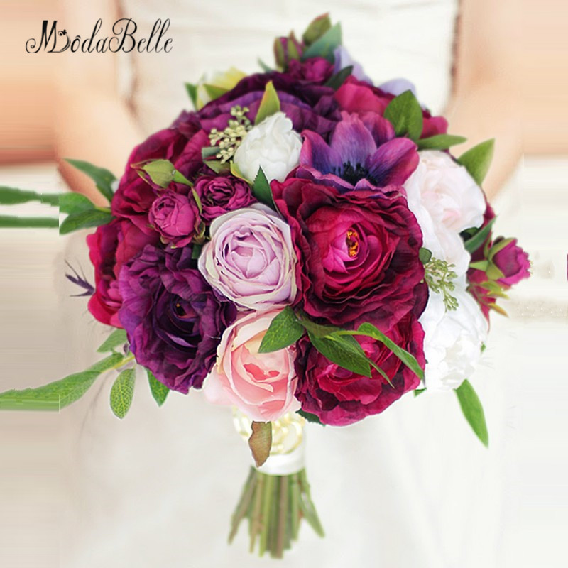 Modabelle Burgundy Bride Bouquet De Mariage High Quality Ramo Novia Artificial Bridal Flowers Wedding Bouquet Pink Roses 2018