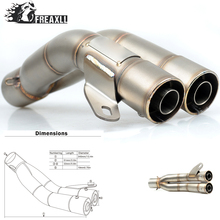 36-51MM Universal Motorcycle Double Exhaust Muffler Pipe escape moto For YAMAHA MT 01 07 09 ABS YZF R1  Kawasaki Z 750 800 1000 цена и фото