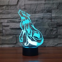 The Wolf 3D Lamp LED Animal 3d Night Light Remote Switch 7 Color Change 3D Visual