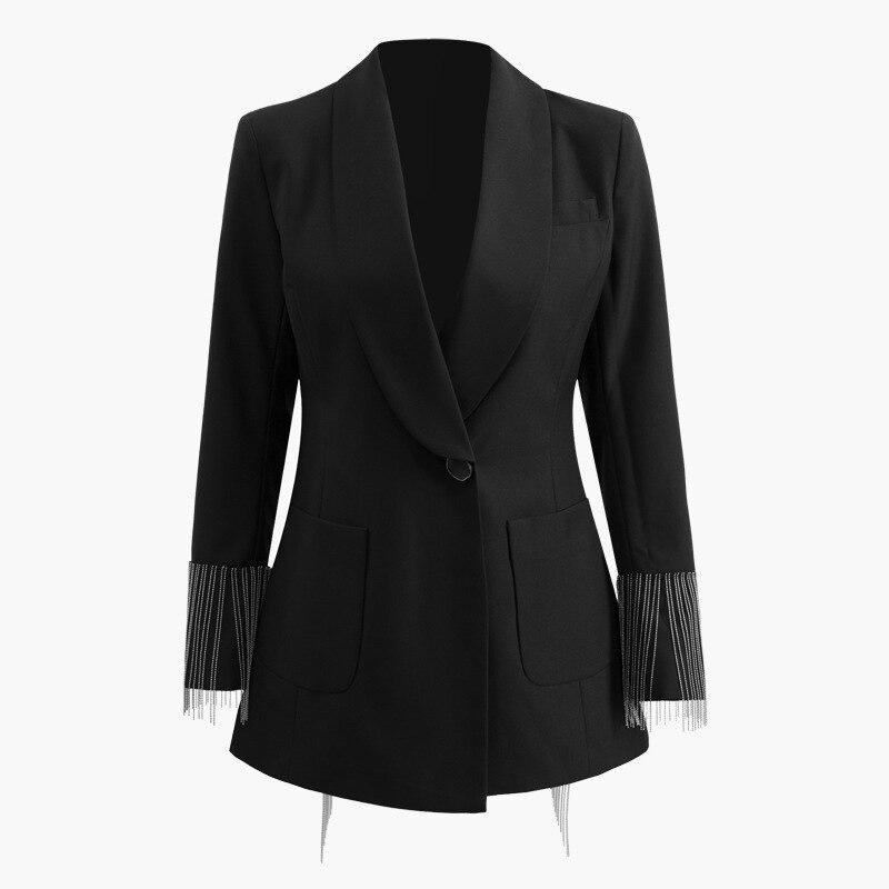 2019 été nouveauté noir minimaliste affaires porter unique bouton cranté plein gland Patchwork poches Noble femmes costume OL-in Vestes de base from Mode Femme et Accessoires    1