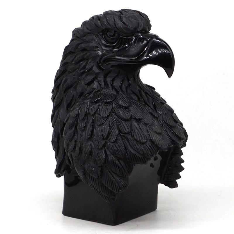 Eagle Head Figurine 4.7 Natural Black Obsidian Carved Stone Statue Crafts Home Decor