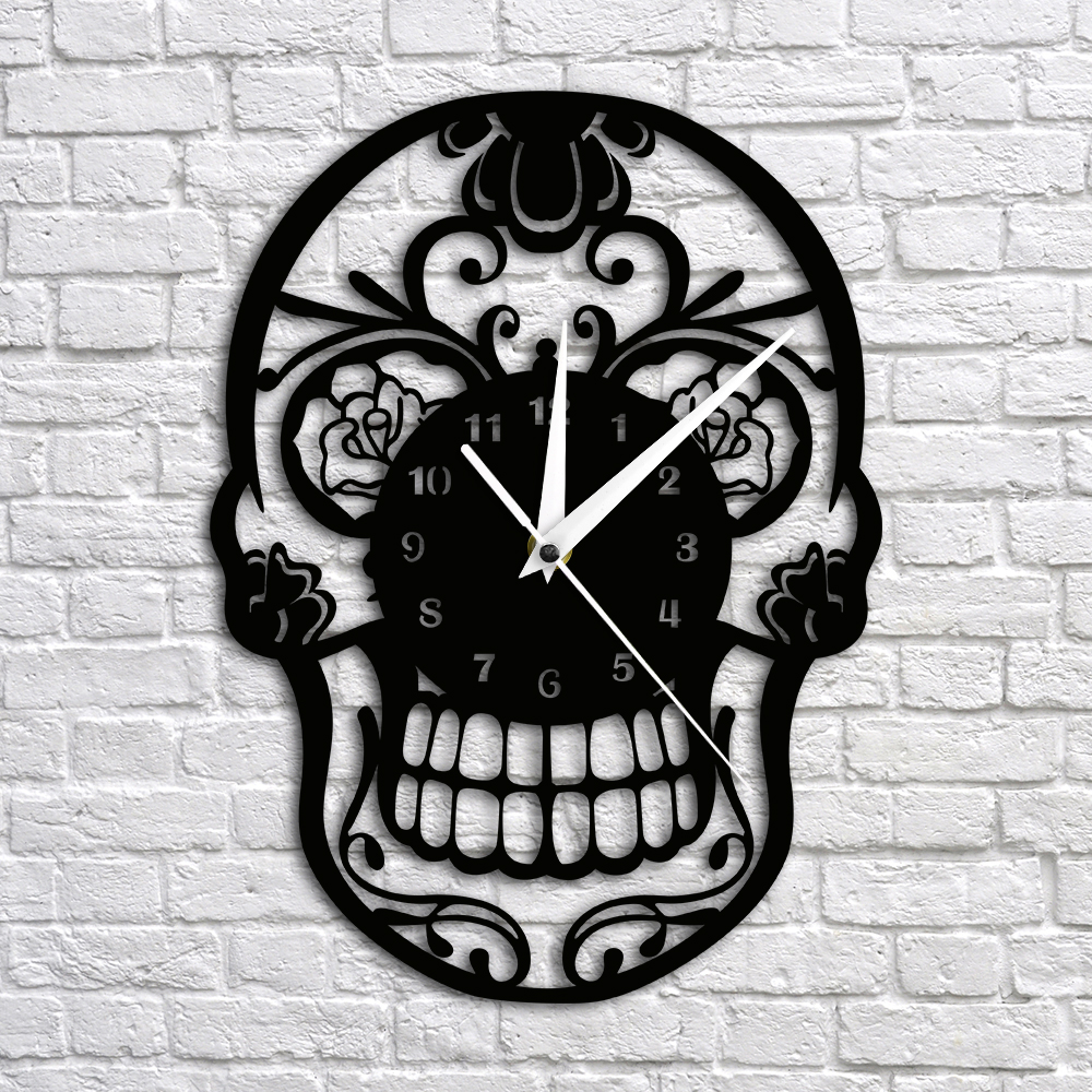 Silent Clock The Day Of Death Skull Wall Clock Modern Design Hanging Clock Art Home Decor 3D Wall Clocks Unique Gift Idea