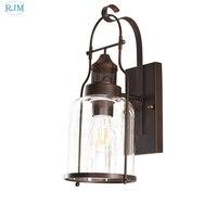 Amerikanischen Retro Industriellen Eisen Wandleuchten Kreative Glas Lampenschirm Wandleuchten für Bar Villa Wohnzimmer Schlafzimmer Nacht Aisle|LED-Innenwandleuchten|Licht & Beleuchtung -