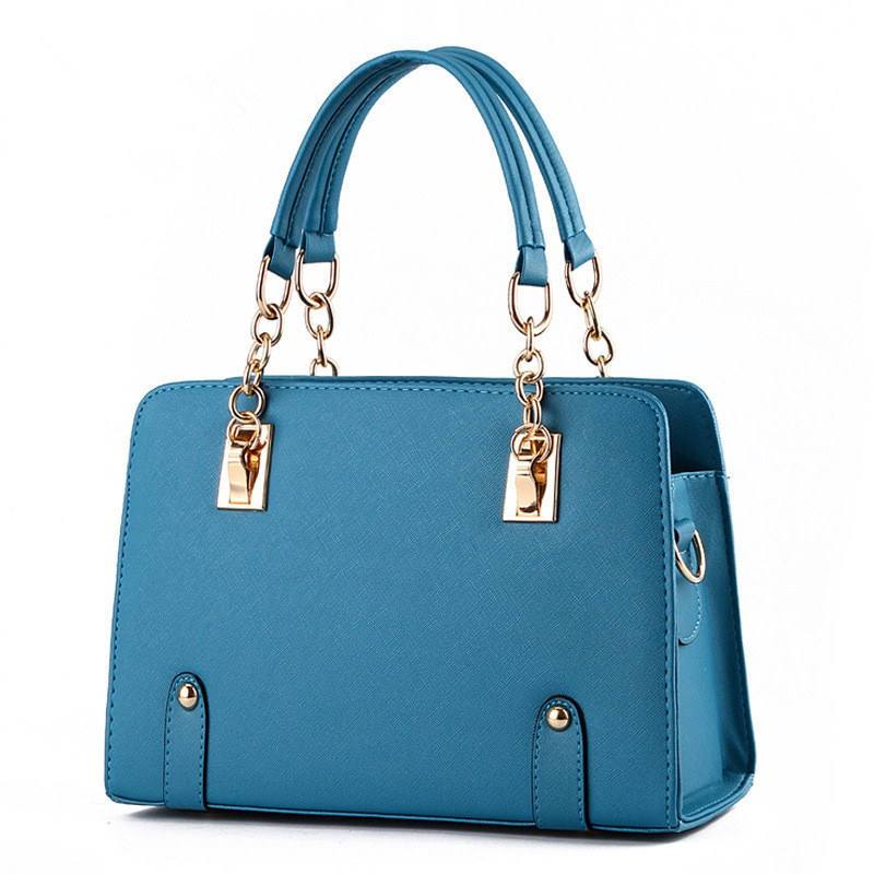 Fashion PU Lake Blue Office Lady Handbag Shoulder Bag Women Tote Crossbody Messenger Zipper купить