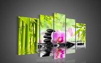 Hochwertigen grünen bambus rock Wasser blume Ölbild auf leinwand 5 st. wand-art-bild für wohnzimmer hauptdekoration modernen