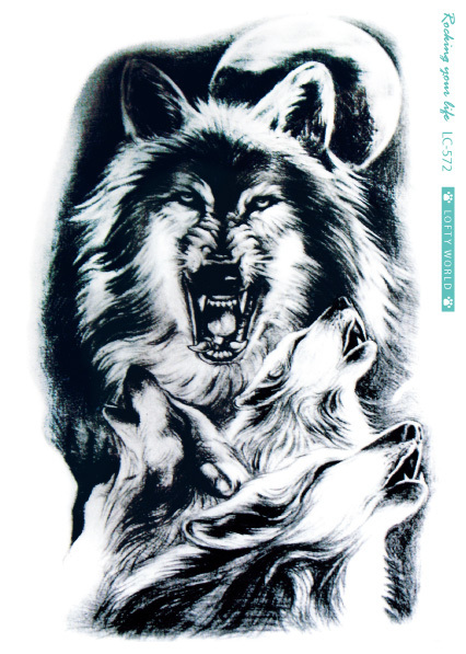2115 Cm Gran Hombre Lobo Pegatina Tatuaje Boceto Paited Negro