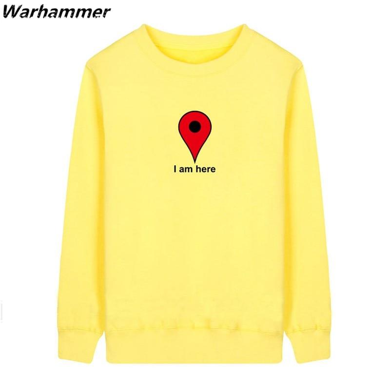 Hoodies Men Funny Im Here Google Map Long Sleeve ONeck Embroidery Autumn Fashion HoodyFleece Cotton S-2XL Tracksuit Sweatshirts