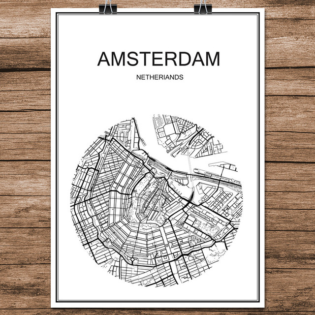 World city street map amsterdam netherlands print poster abstract coated paper bar pub living room home