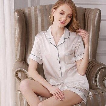 2020 NEW Pure Silk Pajamas Women Sleepwear Summer Short Sleeve Pyjama Sets Two-Piece Sexy SILK Home Clothing Female D2108