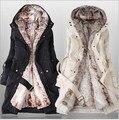 2015 Faux fur forro de mulheres fur Hoodies Das Senhoras casacos de inverno quente longas roupas de algodão jaqueta casaco parkas térmicas feminino