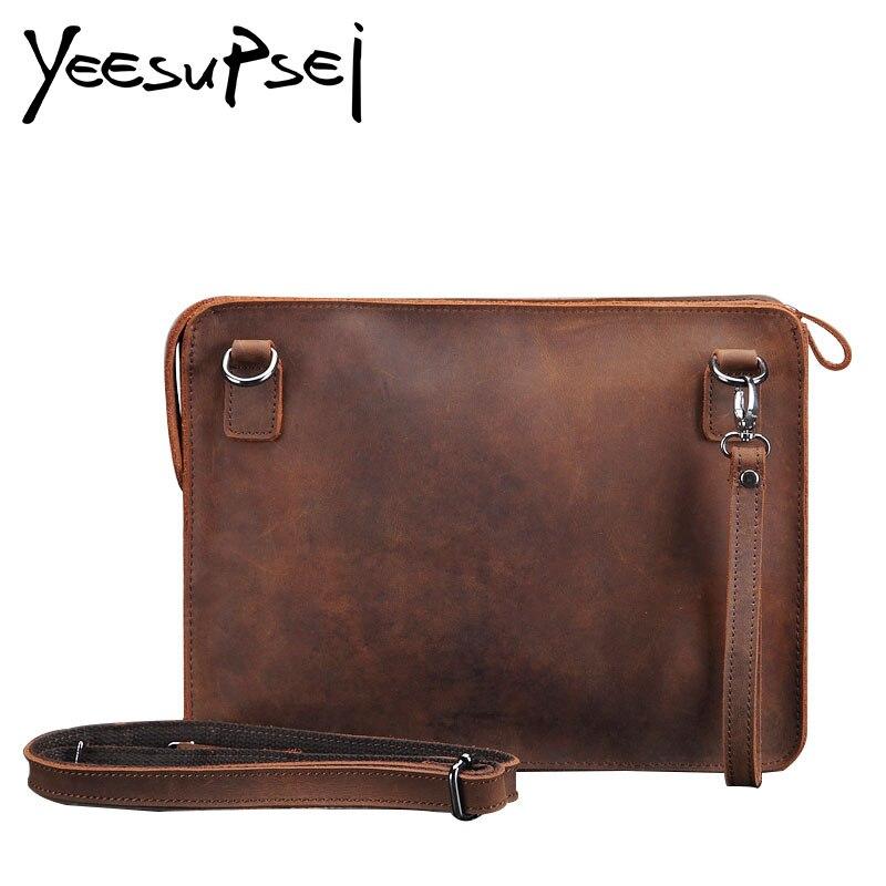 YeeSupSei Genuine Leather Men Bag Brand Designed Men Laptop Handy Briefcase Business Bag Men Handbag Shoulder Bag Messenger Bag
