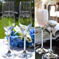 Personalized Crystal Toasting Flutes - (Set of TWO) Crystal Champagne Glasses Wedding Gift Party Event Favors