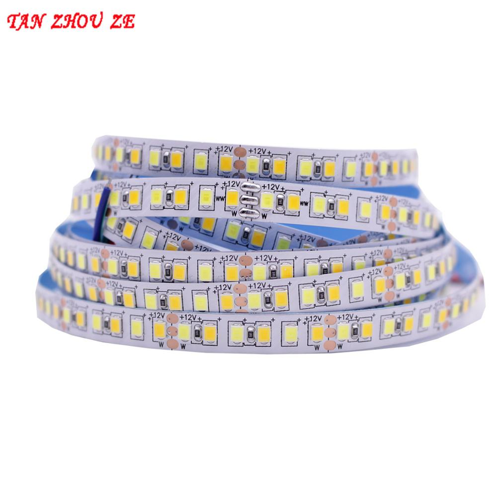 5M Dual Color CRI>80 SMD2835 CCT Dimmable LED Strip Light 12V DC WW CW Color Temperature Adjustable Flexible LED Tape Ribbon