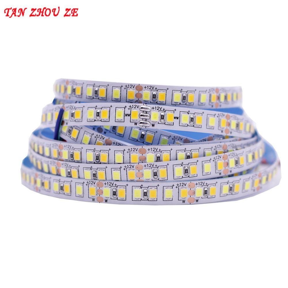 5M Dual Color CRI>80 SMD2835 CCT Dimmable LED Strip Light 12V DC WW CW Color Temperature Adjustable Flexible LED Tape Ribbon